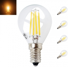 4W G45 E14 LED Filament SES LED Filament Mini Globe Bulb Small Edison Screw E14 LED Antique Clear Golf Ball 40W Incandescent Equivalent