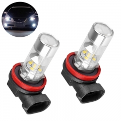 H11 H8 Day Driving LED Car Fog Light Bulbs 10-30V AC/DC DRL Daytime Running Light 6000k Super Bright White Projection Bulb (Pack of 2)