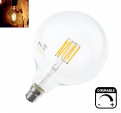 8W G125 B22 LED Filament Glass Globe 125mm BC Bayonet LED Retro Edison Filament Globe Bulb 75 Watt Incandescent Equivalent [Energy Class A++]
