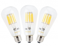 3-Pack 10W ST64 E27 LED Long Filament Bulb Edison Screw ES LED Squirrel Cage Antique Bulb 100W Incandescent Equivalent (Non-dimmable)