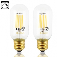 6W LED Vintage Edison T14 Tubular Filament Bulb 110/220V Medium E26 Base Clear Glass LED T45 Decorative Light 60W Incandescent Replacement (Pack of 2)