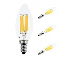6W C35 Edison Candelabra LED Filament Bulbs Chandelie LED Bulb E14 Base Decorative Candle Light Bulb 60W Incandescent Replacement (3-pack)