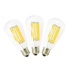 LED Filament Bulbs Edison Bulb ST64 12W Antique LED Bulb Medium Screw E26/E27 Pendant Lighting 120W Incandescent Bulb, Non-Dimmable(3-pack)