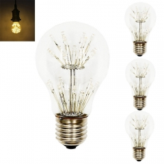 A19 Starry Edison Style Decorative LED Bulb 3W A60 Vintage Firework LED Light Medium Screw E26 Base Warm White for Christmas Halloween Decoration