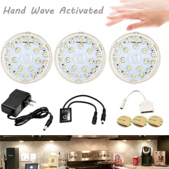 LED Under Counter Lighting Kit 12V Hand Wave Activated Sensor LED Puck Light Stick-Anywhere Under Cabinet Light for Kitchen Bedroom Wardrobe (3-Pack)