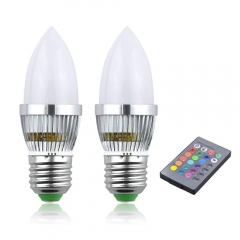 RGB LED Light Bulbs 3W Dimmable 16 Colors Change Light Bulb Medium Screw E26/E27 Mood Light with Remote Control (2-Pack)