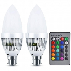 RGB Colour Changing LED Light Bulb B22 Bayonet Dimmable with IR Remote Controller 16 Multi Coloured Changing LED Light Bulb Candle Bulb(2-pack)