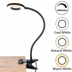 Bonlux LED Desk Lamp with Clamp 5 Watt Dimmable Reading Light Eye-Care USB Table Lamp Twistable Tube Clip Laptop Lamp 3 Color Temperature Choices