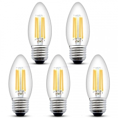 E27 LED Dimmable Candle Filament Light Bulb C35 Edison Screw 4W 400 LM Glass Vintage Bulbs for 35-40W Halogen Bulb Replacement  (5-Pack)