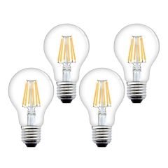 E27 LED Filament Bulb 8W 750lm ES A60 Globe Edison Screw LED Light Bulb 70W Equivalent Dimmable Low Energy Bulbs (4-Pack)