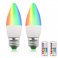 Lustaled Dimmable RGB +Warm White LED Color Changing Light Bulbs C35 E26 Color LED Memory Timer Function with Remote Control for Decoration Lighting