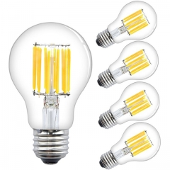 Lustaled 6W/12W LED A19 Dimmable Filament Light Bulbs A60 LED Clear Glass Vintage Edison Style Lights Medium E26 Base  (4-Pack)