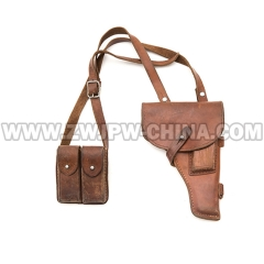 China PLA Army Original Type 54 Holster With Clip & Leather belt(used)