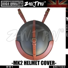 UK WW2 Army Type MK2 Helment Protect Leather Cover Brown