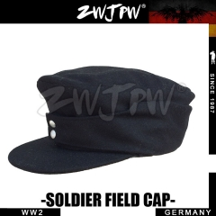 German WW2 Army WH SS Elite Type 1943 Black Woolen Officer Cap