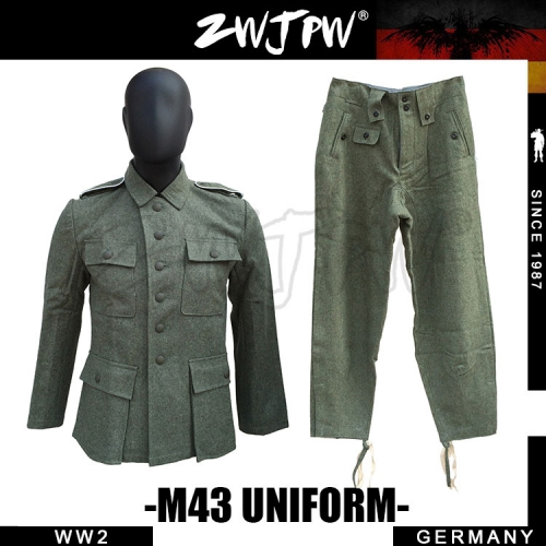 German WW2 Army M43 WH SS Field-Gray Wool Uniform