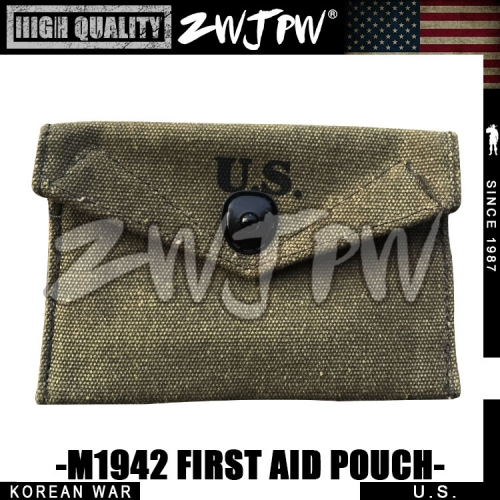 KOREAN WAR US ARMY M1942 FIRST AID POUCH MEDICAL PACKAGE WITH HOOK