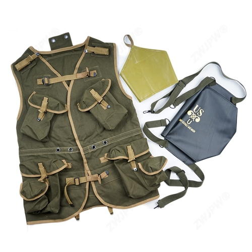 WW2 US ARMY BASIC D-DAY ASSAULT TROOP PACKAGE ARMY GREEN EUIPMENT