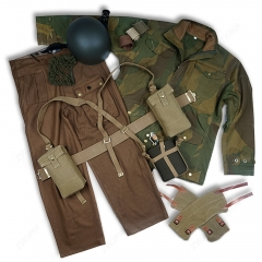 WW2 BRITISH ARMY EQUIPMENT P37 DERNISON JACKET AND PANTS WITH KETTLE AND UK MK2 HELMET