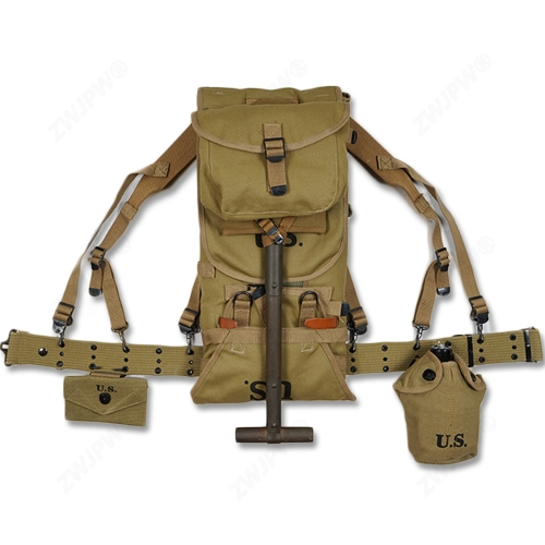 WW2 US ARMY EQUIPMENT M1928 BAG BELT FIRST AID KIT AND 0.8L KETTLE X- TYPE STRAPS SPADE