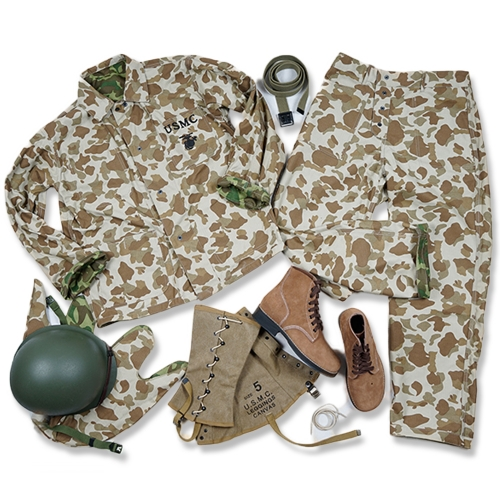 WW2 US ARMY USMC Pacific camouflage UNIFORM AND M1 HELMET WITH COVER USMC LEGGINGS AND BOOT BELT