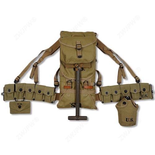 WW2 US ARMY EQUIPMENT M36 BAG BELT FIRST AID KIT AND 0.8L KETTLE X- TYPE STRAPS TEN CELL POUCH