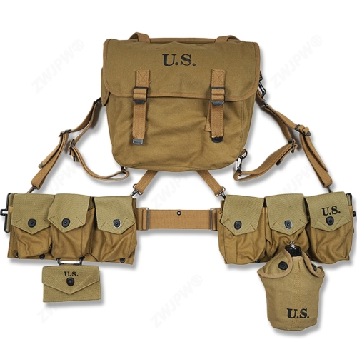 WW2 US ARMY EQUIPMENT M36 BAG BELT FIRST AID KIT AND 0.8L KETTLE X- TYPE STRAPS SIX CELL POUCH