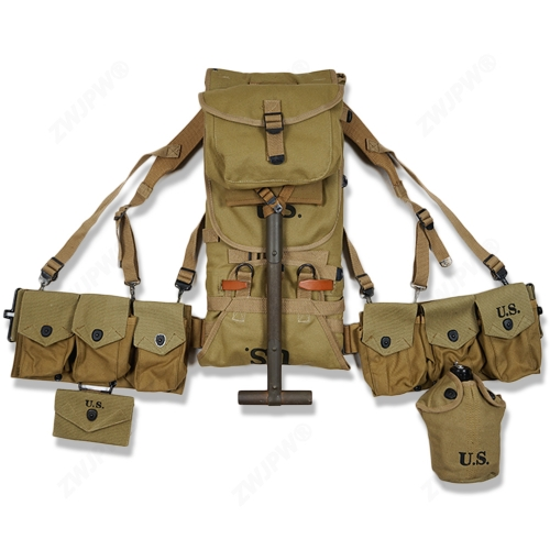 WW2 US ARMY EQUIPMENT M1928 BAG BELT FIRST AID KIT AND 0.8L KETTLE X- TYPE STRAPS SIX CELL POUCH SPADE