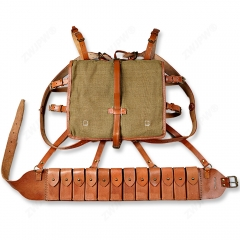 WW2 CHINESE ARMY KMT PACKAGE FIELD EQUIPMENT WITH WOODEN FRAM WITH JIULONG AMMO POUCH