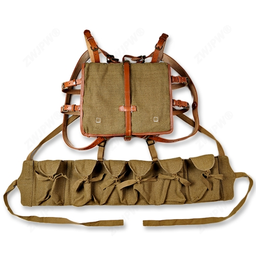 WW2 CHINESE ARMY KMT PACKAGE FIELD EQUIPMENT WITH WOODEN FRAM WITH KMT SIX CELL AMMO POUCH