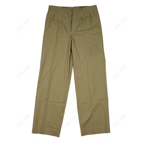 WW2 CHINESE ARMY Anti-japanese Military High-ranking Officers Grass Green Trousers Reproduction Film Pure Cotton