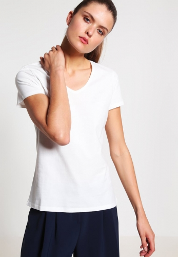 women's slim fit embroidered V-neck T-shirt
