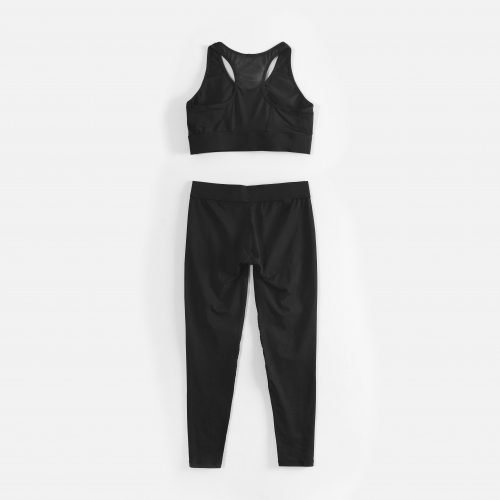 High Elasticity Sports Suit Black Yoga Suit Breathable Sports Suit
