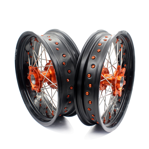 VMX Supermoto Motard Cush Drive Wheels Fit KTM 620 640 660 LC4 SMC Orange Nipple