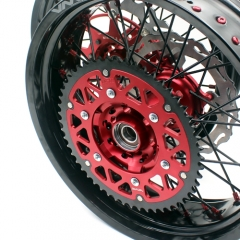 VMX COMPLETE SUPERMOTO WHEELS SET FOR HONDA CRF250R CRF450R RED/BLACK