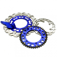 VMX FRONT AND REAR BRAKE DISC ROTORS WITH ADAPTER SPROCKET FOR KTM SX EXC 2018 BLUE
