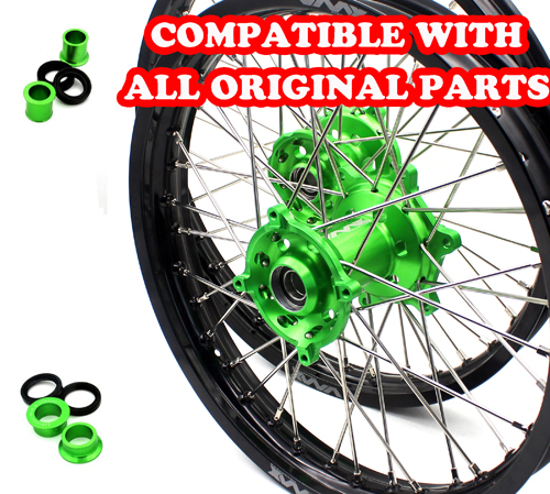VMX 21/18 WHEELS RIMS SET FOR KAWASAKI KX250F KX450F 2006-2018 GREEN
