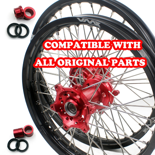 VMX 21/19 WHEELS SET FOR SUZUKI RMZ250 RMZ450 RED