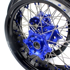 VMX SUPERMOTO WHEELS FOR YAMAHA YZ 250F 450F YZ 125 250 BLUE NIPPLE