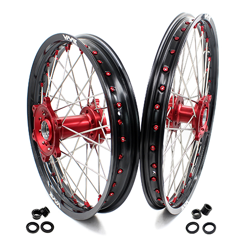 VMX 21/18 WHEELS RIMS FOR HUSQVARNA TE/TC/TXC/SMR 2000-2013 RED NIPPLE