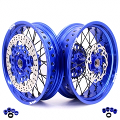 VMX COMPLETE SUPERMOTO WHEELS FOR HUSABERG FE FC 250 450 BLUE RIMS
