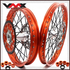 VMX MX COMPLETE CASTING WHEELS SET FOR KTM SX 200 250 400 450 525 21/19 ORANGE RIM
