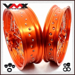 VMX SUPERMOTO CUSH DRIVE WHEELS FOR KTM 690 ENDURO R SMC ORANGE RIMS