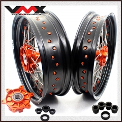 VMX SUPERMOTO CUSH DRIVE WHEELS FOR KTM 690 ENDURO R SMC ORANGE NIPPLE