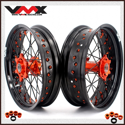 VMX 3.5/5.0 Supermoto Wheel Set Fit KTM SX-F EXC XC-F 250 450 530 Orange/Black