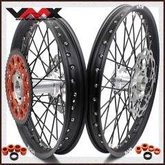 VMX MX COMPLETE CASTING WHEELS SET FOR KTM SX SX-F 200 450 525 21/19 SILVER