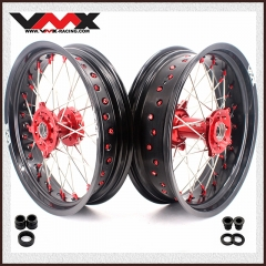 VMX SUPERMOTO WHEELS RIMS SET FOR HUSQVARNA TE/TC/TXC/SMR RED NIPPLE