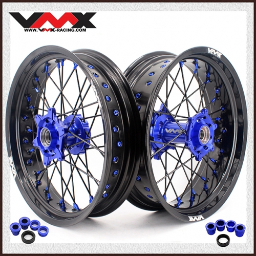 VMX SUPERMOTO WHEELS FOR HUSABERG FE FC 250 450 BLUE/BLACK