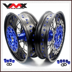VMX COMPLETE SUPERMOTO WHEELS FOR YAMAHA YZ 250F 450F YZ 125 250 BLUE/BLACK