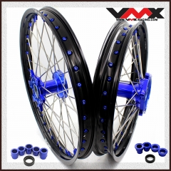 VMX  MX CASTING WHEELS SET 21/9 FOR YAMAHA YZ 250F 450F YZ 125 250 BLUE NIPPLE